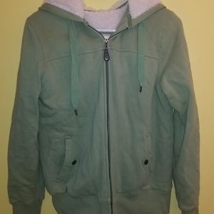 Green Tea Sherpa Lined Hooded Jacket Hoodie Size M